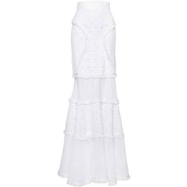 Andrew Gn     Eyelet Maxi Skirt ($3,035) ❤ liked on Polyvore featuring skirts, andrew gn, white, long skirts, white skirt, high waisted long skirt, white high waisted maxi skirt and white eyelet skirt