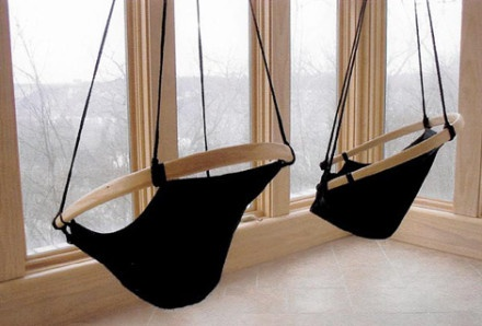 indoor swingset with a view