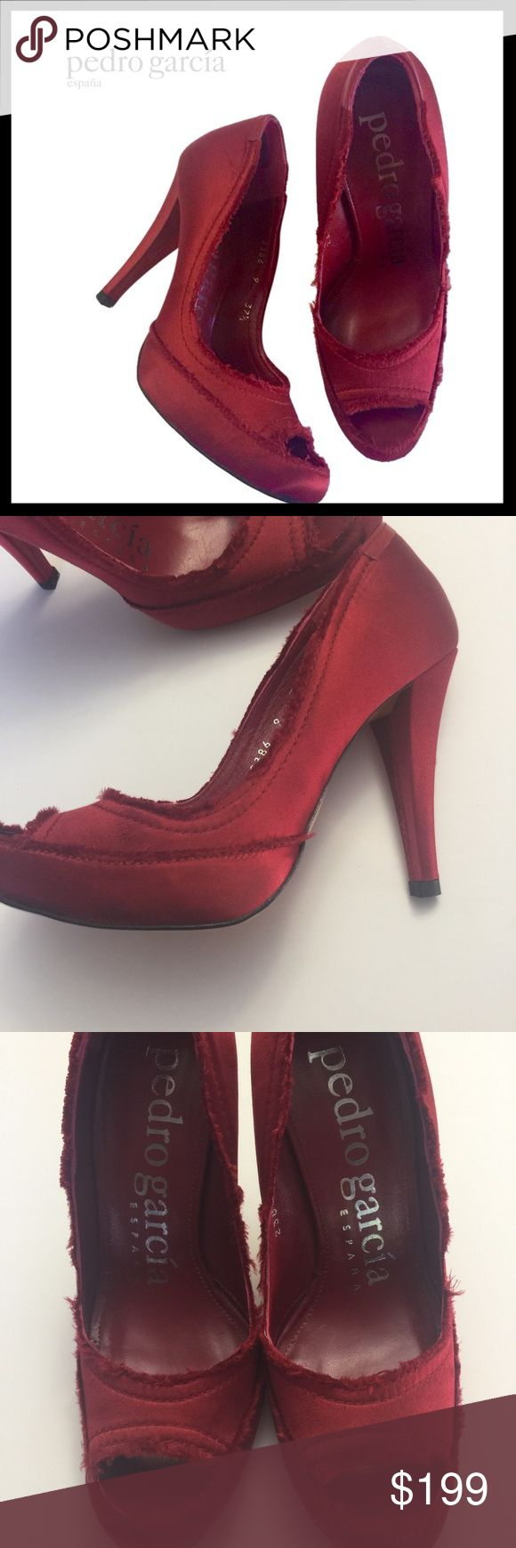 PEDRO GARCIA Red Satin Peep Toe w/frayed edges PEDRO GARCIA Red Satin Peep Toe with signature frayed edges. NEVER WORN. One shoe has small mark possibly from when sticker was removed. Leather soles.No box. Pedro Garcia Shoes Heels