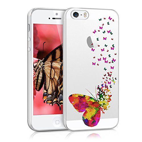 kwmobile Funda TPU silicona transparente para Apple iPhone SE / 5 / 5S enjambre de mariposas - http://www.tiendasmoviles.net/2016/11/kwmobile-funda-tpu-silicona-transparente-para-apple-iphone-se-5-5s-enjambre-de-mariposas/