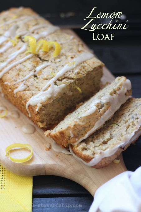 Lemon Zucchini Bread with Lemon Glaze, D-f opt., G-f opt.-great way to use the zukes!