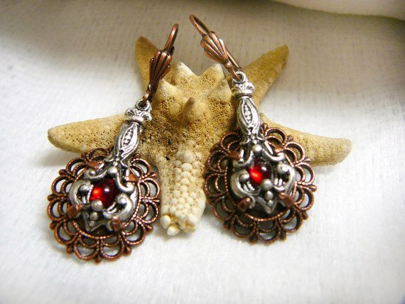 """Brass  copper plated earrings """"Chocolate dessert"""", silver plated brass, Swarovski cabochons"""