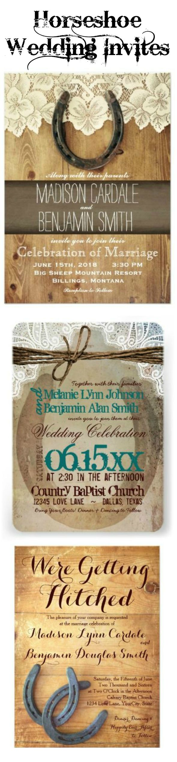 Horseshoe Wedding Invitations for a country western