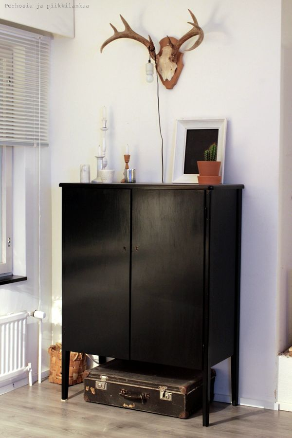 My new beautiful old cabinet which i painted to black