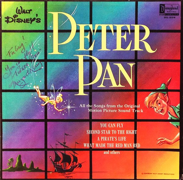 """Walt Disney's PETER PAN All the Songs from the Original Motion Picture Soundtrack Disneyland Records DQ-1206 (12"""" 33 1/3 RPM / Mono / 1960) Reissues: DQ-1206 (with Mouseketeer Renditions); 1206 (with expanded tracks) CD: 60958-7 (with additional soundtrack selections / 2000, 2013) Executive Producer: Jimmy Johnson. Producer/Editorial Supervisor: Camarata. Musical Director: Oliver Wallace. Vocal Arrangements: Jud Conlon. Running Time: 16 minutes. Voices: Bobby Driscoll (Peter Pan); Kathryn…"""