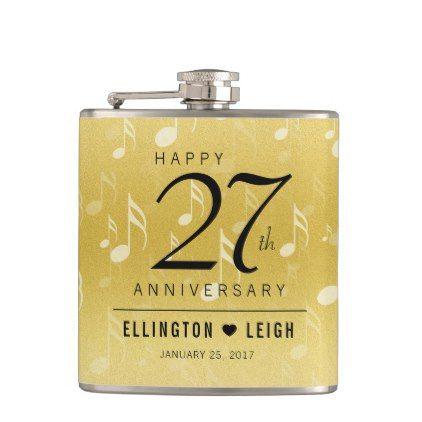 Elegant 27th Music Wedding Anniversary Celebration Hip Flask - wedding decor marriage design diy cyo party idea