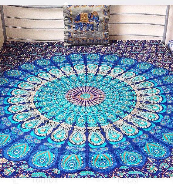 Indian Ethnic Blue Peacock Mandala Cotton Bedsheet by Bohemiyanauk