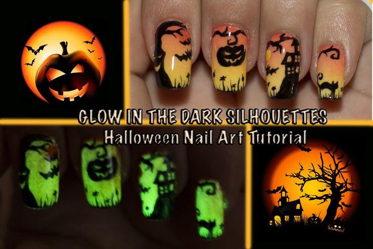 GLOW IN THE DARK Halloween Silhouettes Nail Art tutorial by LeUnghieDiAngela
