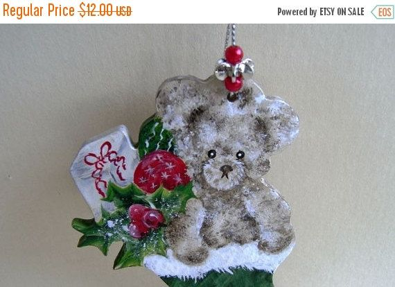 CHRISTMAS SALE, Christmas Decoration, Christmas Ornament, Teddy Bear, Xmas Decoration, Christmas Bear, Painted Decoration, by TheChristmasDen on Etsy