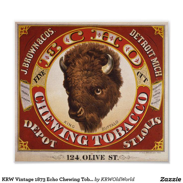 Etiqueta del tabaco de mascar del eco del vintage póster