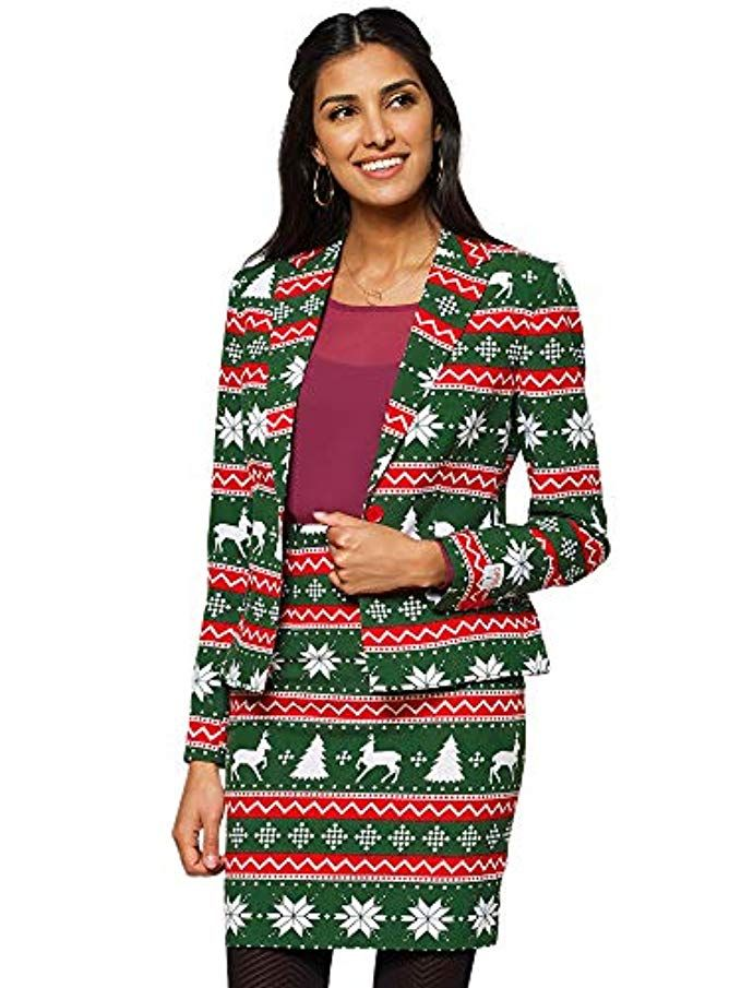 8df6d204143 OppoSuits Christmas Suits for Women in Different Prints - Ugly Xmas Sweater  Costumes Include Blazer
