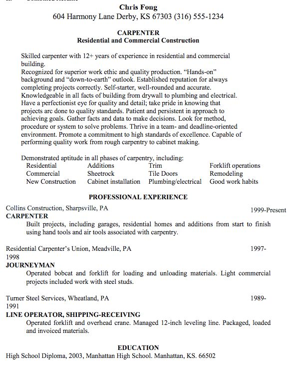 journeyman carpenter resume example sample foreman template