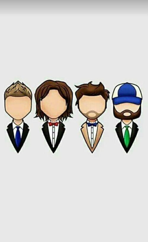 Sam and Dean Winchester, Castiel, Bobby Singer, Fanart #supernatural