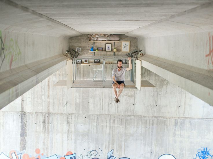 Fernando Abellanas, a self-taught designer from Valencia has created a pop-up studio into the underside of a traffic bridge. Its metal base is moved from one side of the bridge to the other by a hand crank along rails, where a shelf, chair, and desk have been bolted to the bridge's concrete...