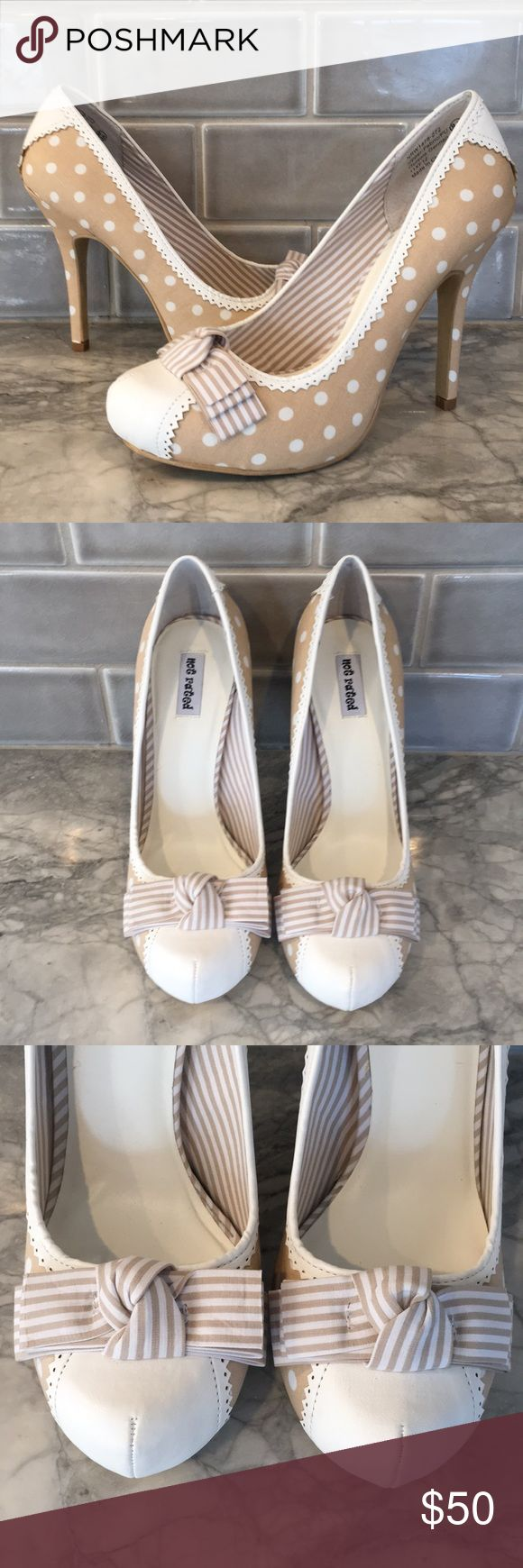 "New Not rated polka dot bow high heels pumps 9.5 Get ready for spring with these adorable pumps by Not Rated  Style name ""prim rose"" New in box- never worn  Size 9.5 Tan and white Fabric and synthetic upper  Approx: 1"" platform, 4"" heel Not Rated Shoes Heels"