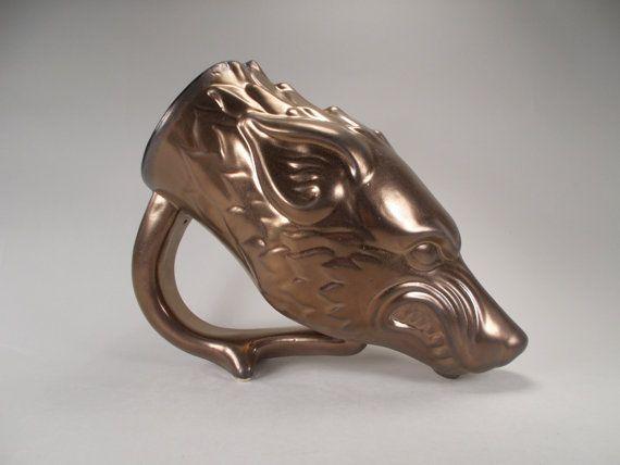 Dire Wolf Drinking Horn Beer Mug Bronze Glaze Original Fantasy Art for Renaissance Faire Costume Mug- LARP Gamers, Wolf Lovers