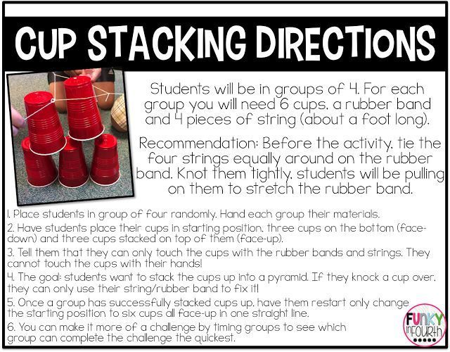 Directions And Examples To Complete A Cup Stacking