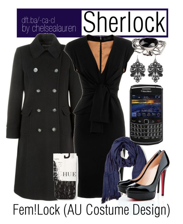 Sherlock - (BBC) Sherlock | AU Costume Design by chelsealauren10 on Polyvore featuring Elie Saab, John Lewis, Hue, Christian Louboutin, Just Female Acces, Closed, lace tights, scarves, wool coat and sherlock