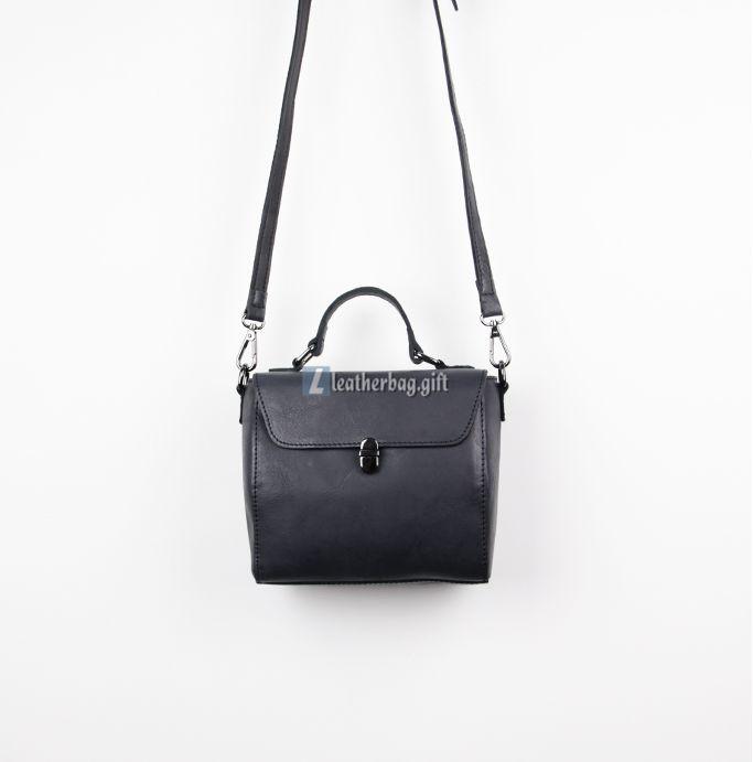Small Black Leather Shoulder Bag Messenger