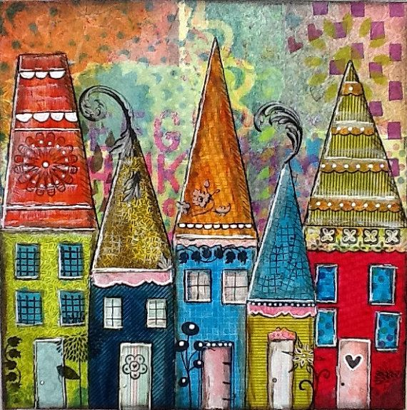 "Art Original Mixed Media Collage Artwork Colorful, blue, red, green, decor, whimsical houses- ""My Street"""