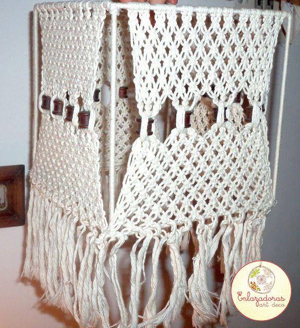 Enlazadoras Art Deco: Pantalla tejida en macrame de hilo de algodón y de...