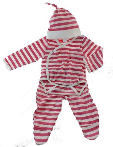 Baby Girls Layette Set Pink White Stripe | Earth Baby Bamboo Organic