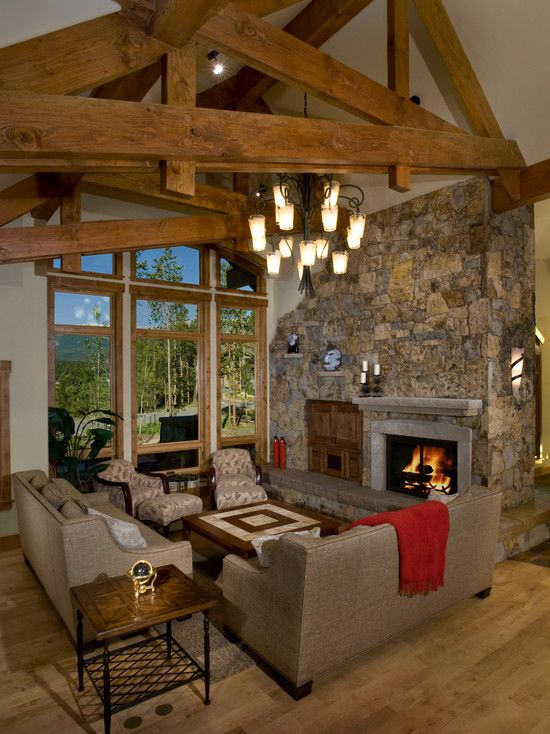 Fabulous Mountain House Design; Living Room Decoration: Small Classic Living Rooms For Mountain Homes Stone Fireplace