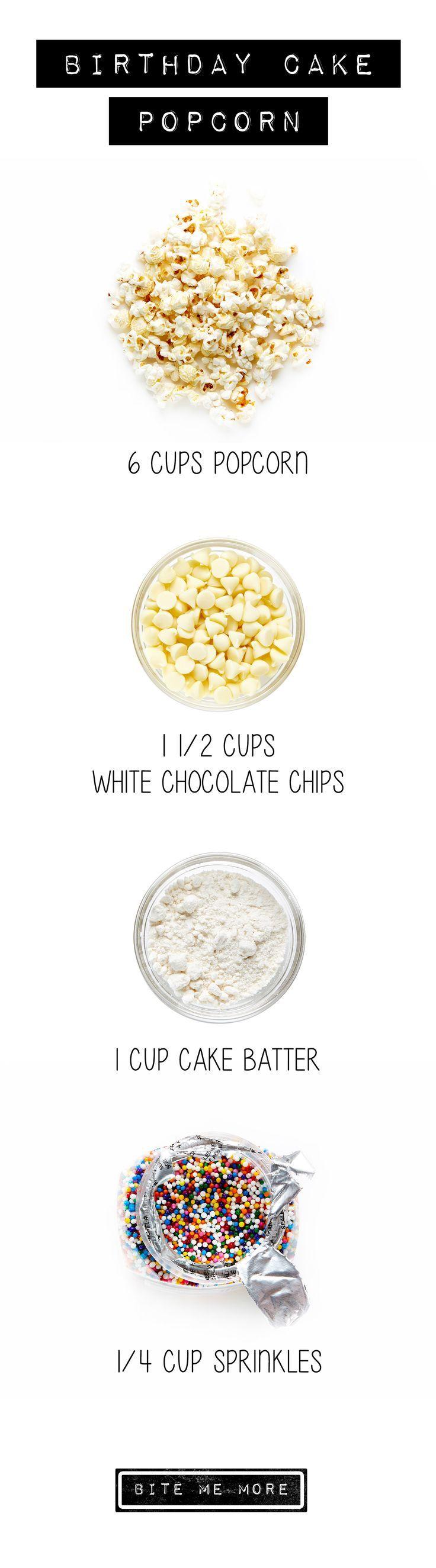 Happy Birthday, every day, thanks to this simple recipe for Birthday Cake Popcorn. #BiteMeMore #popcorn