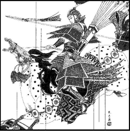 Mulan in battle.