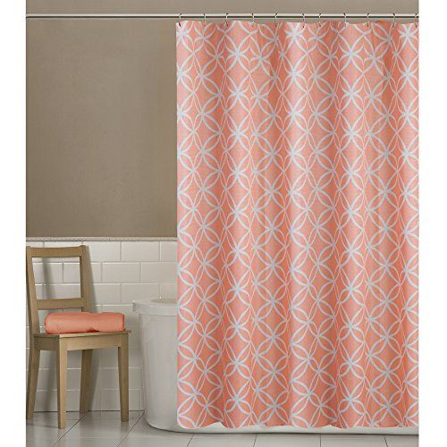 Maytex Emma Fabric Shower Curtain, Coral, 70 X 72 Inch , ...