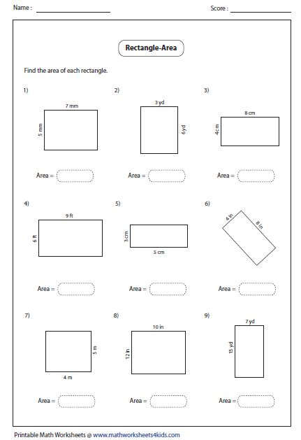 Area Of A Rectangle Worksheets