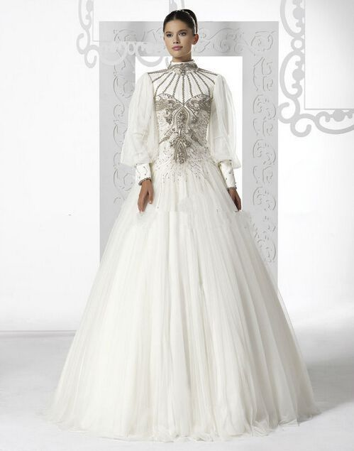 Discount High Neck Long Sleeve Puffy Tulle Skirt Corset Beaded Muslim Bridal Wedding Dress  From Trustful Online Seller Easebuydress