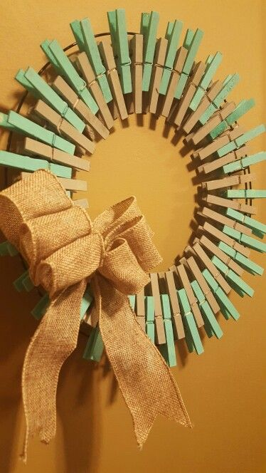 Handmade cloths pin wreaths. #clothespins #wreath #diy