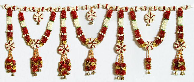 Satin Ribbon Flower Door Toran with Beads and Golden Bell - (Decorative Door Hanging) (Beads and Ribbon)