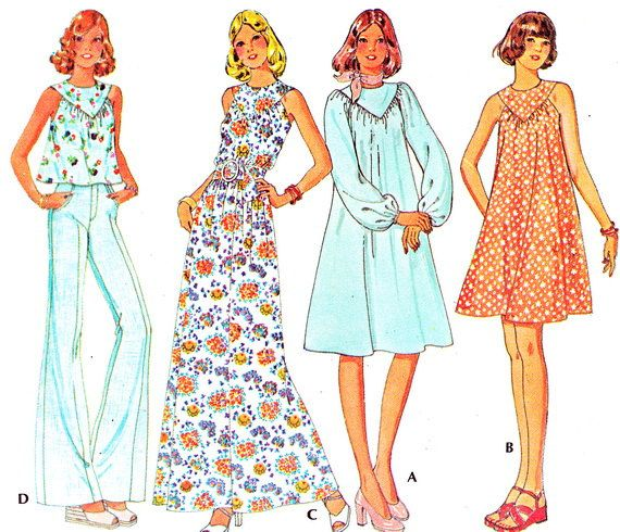 1970s McCalls 4562 Maxi or Mini Yoked Tent Dress or Sleeveless Tunic Womens Plus Size Vintage Sewing Pattern Bust 40 Uncut