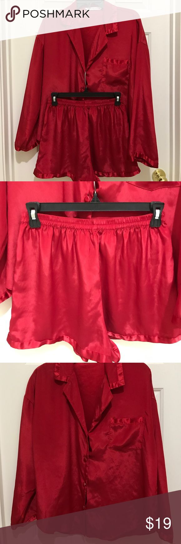 Victoria Secrets Holiday Pajama Short Set Stunning red button front top with matching elastic waist shorts/EUC no visible flaws/100% Polyester/machine washable Victoria's Secret Intimates & Sleepwear Pajamas