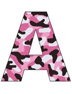 Pink Camo Alphabet Letter wall decals for baby girl nursery or kids room decor #decampstudios