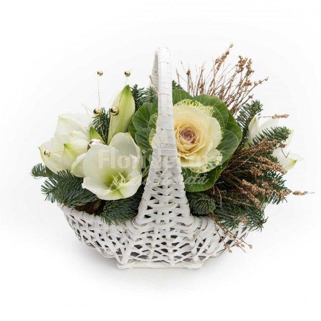 Cos cu flori de iarna, un cadou incantator, perfect pentru ultimele zile ale lunii noiembrie. Comanda online acest cosulet alb, cu flori deosebite de brassica si amaryllis, nu ai cum sa dai gres cu aceasta minunatie!!! https://www.floridelux.ro/cos-cu-flori-de-iarna.html
