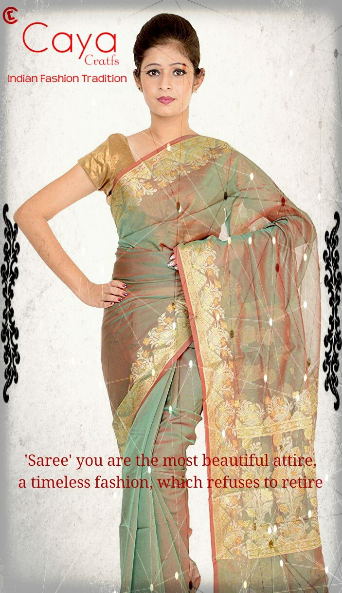 'Saree ' you are the most beautiful attire, a timeless fashion, which refuses to retire. #beautiful #banarasi #sarees by #CayaCrafts