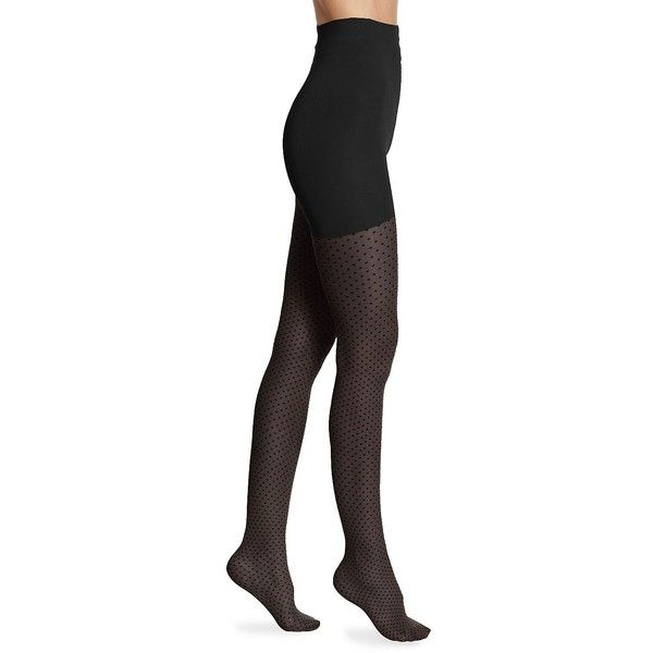 Wolford Control Top Dotted Tights ($67) ❤ liked on Polyvore featuring intimates, hosiery, tights, lingerie hosiery, dotted stockings, lingerie stockings, dot tights and wolford stockings