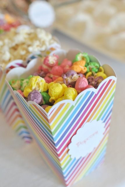 Rainbow popcorn - will need to find the right recipe.