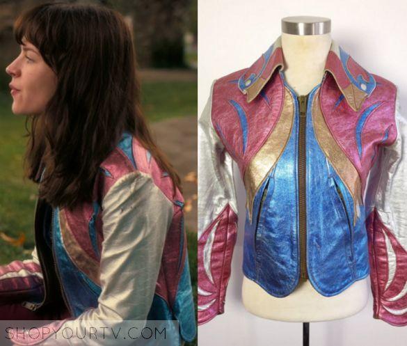 "GirlBoss: Season 1 Episode 1 Sophia's Metallic Leather Jacket | Shop Your TV Sophia Amoruso (Britt Robinson) wears this multicolored metallic leather jacket in this episode of GirlBoss, ""Sophia"".  It is the Milk and Ice East West Parrot Jacket."
