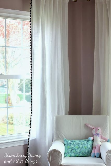 Strawberry Swing and other things: [Sew Fun] Project #10: Pom Trim Curtains