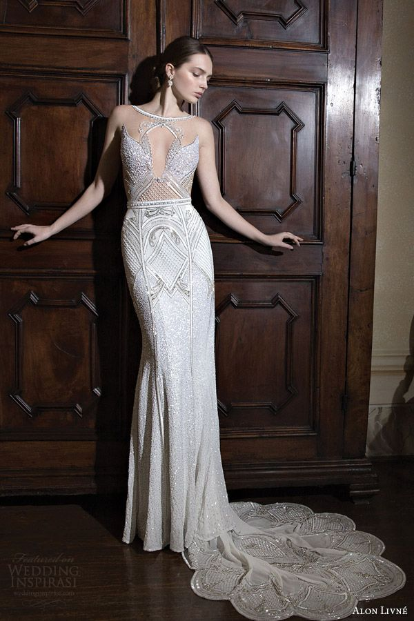 alon livne wedding dress 2015 white bridal rachel illusion neckline bodice wedding dress sheath silhouette front view