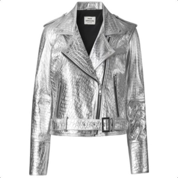 Silver Leather Biker Jacket ($645) ❤ liked on Polyvore featuring outerwear, jackets and mads nørgaard