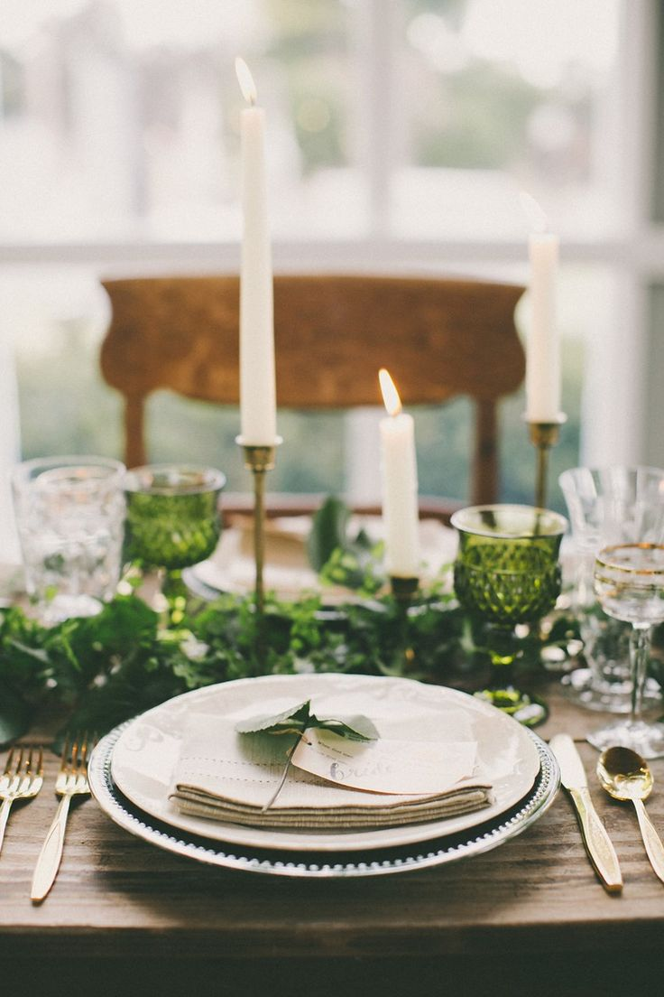 Green Wedding Tablescape - Beautiful Botanical Wedding Inspiration