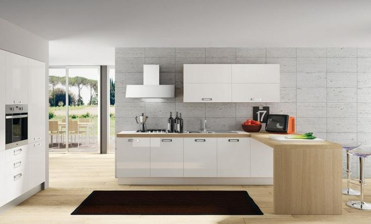 cucina moderna con tavolo penisola Pavia