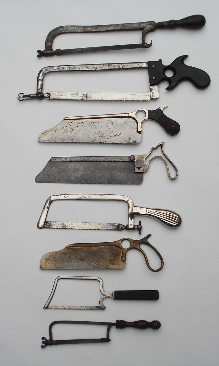 """Eight rare 19th century medical bone saws. Medical instrument makers were the finest precision tool makers of their days. Made with the best steel and exotic woods like ebony or rosewood. Beautiful designs and execution. Perfect for the medical fan or horror film enthusiast. These saws measure from 10"" to 17 1/4""."" (Site selling these.)"