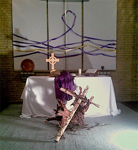 Lent 2A 2008: The previous week we broke twigs as a sign of confession. This week we made a cross of them. Our sins... our burdens... he gladly bore...