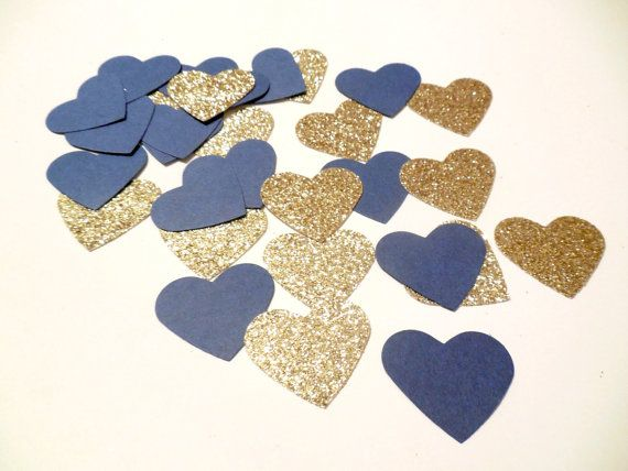 Navy Glitter Gold Heart Confetti Navy by SignsationalSayings - they also have anchors!
